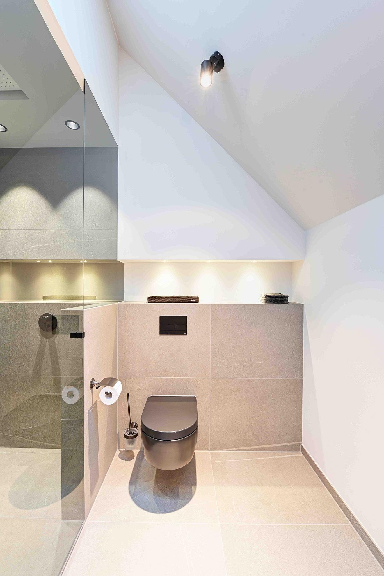 Badezimmer, hochwertig, flächenbündig, hell